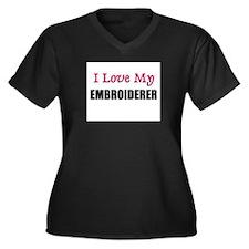 I Love My EMBROIDERER Women's Plus Size V-Neck Dar