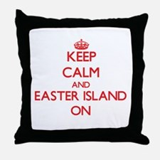 Keep Calm and Easter Island ON Throw Pillow