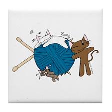 Cat Knit Tile Coaster