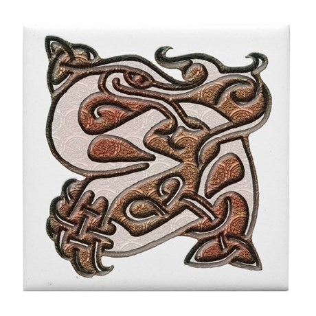 Light Celtic Heron Tile Coaster