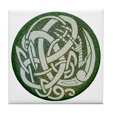 Light Celtic Heron Tile Coaster