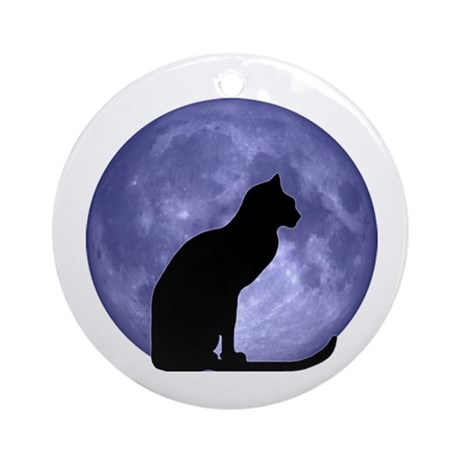 cat amp moon ornament round by blackcatmoon