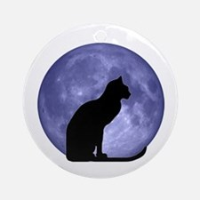 Cat & Moon Ornament (Round)