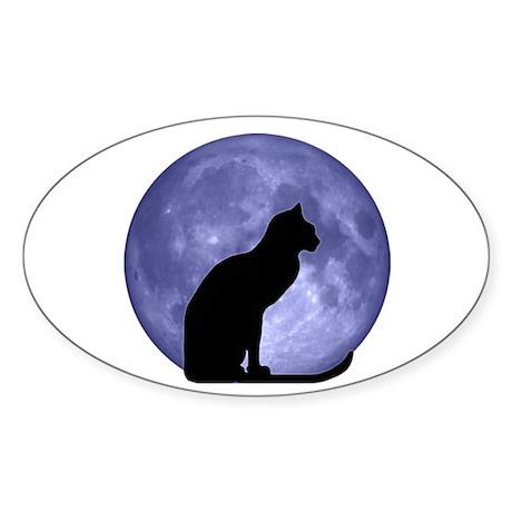 Cat & Moon Oval Sticker
