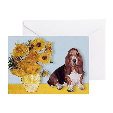 Sunflowers & Basset Greeting Card