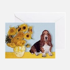 Sunflowers & Basset Greeting Card