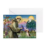Saint Francis / Beagle Greeting Cards (Pk of 20)