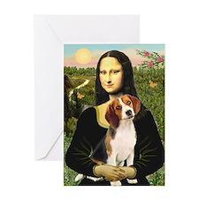 Mona Lisa & Beagle Greeting Card