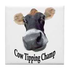 Cow Tipping Champ Tile Coaster