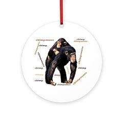 Chimpanzee Ornament (Round)