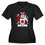 Hurst Family Crest Women's Plus Size V-Neck Dark T