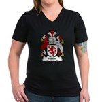 Hulton Family Crest Women's V-Neck Dark T-Shirt