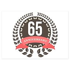 65 Years Anniversary Laurel Badge 5x7 Flat Cards