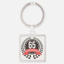 65 Years Anniversary Laurel Badge Square Keychain