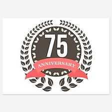 75 Years Anniversary Laurel Badge Invitations