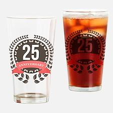 25 Years Anniversary Laurel Badge Drinking Glass