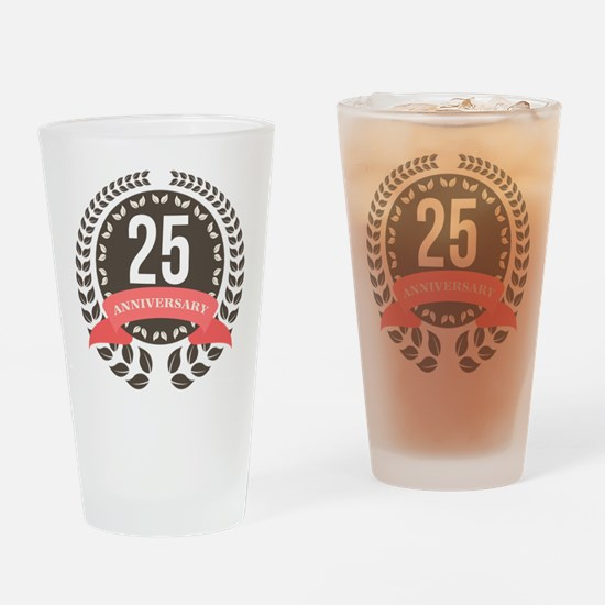 25 Years Anniversary Laurel Badge Drinking Glass