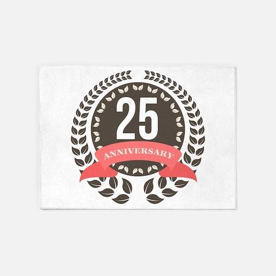 25 Years Anniversary Laurel Badge 5'x7'Area Rug