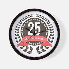 25 Years Anniversary Laurel Badge Wall Clock