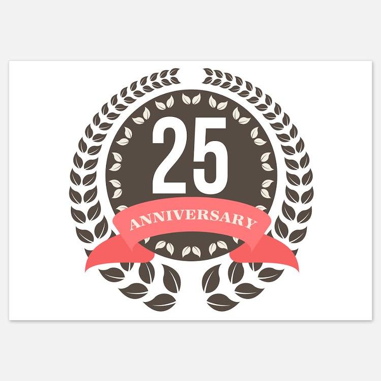 25 Years Anniversary Laurel Badge Invitations