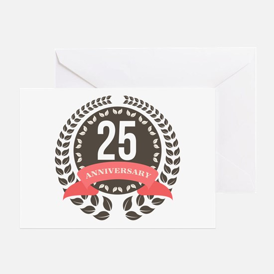 25 Years Anniversary Laurel Badge Greeting Card