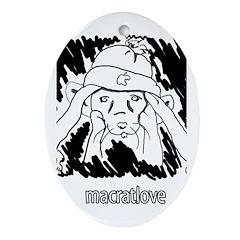 MacRatLove Black and White Ornament (Oval)