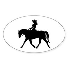 Cute Cowgirl on Horse Oval Decal