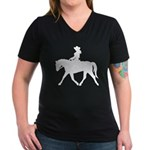 Cute Cowgirl on Horse Women's V-Neck Dark T-Shirt