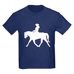 Cute Cowgirl on Horse Kids Dark T-Shirt