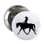 Cute Cowgirl on Horse Button