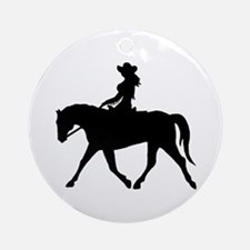 Cute Cowgirl on Horse Ornament (Round)