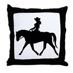 Cute Cowgirl on Horse Throw Pillow