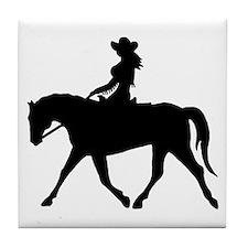 Cute Cowgirl on Horse Tile Coaster