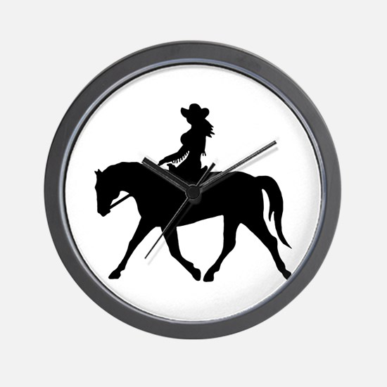 Cute Cowgirl on Horse Wall Clock