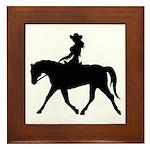 Cute Cowgirl on Horse Framed Tile