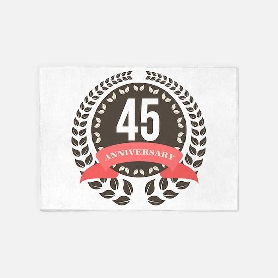 45Years Anniversary Laurel Badge 5'x7'Area Rug