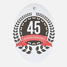 45Years Anniversary Laurel Badge Ornament (Oval)