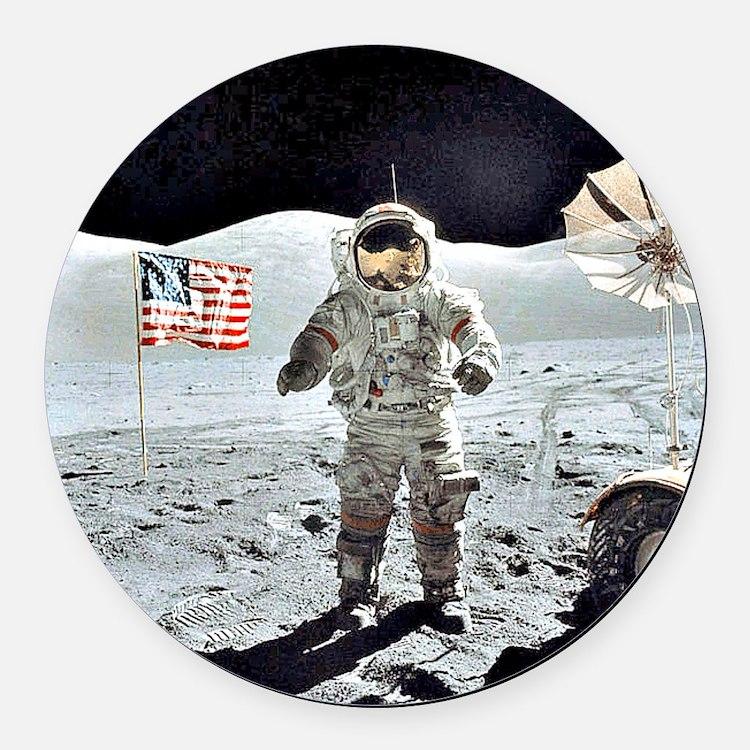 Moon Walk Round Car Magnet