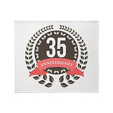 35 Years Anniversary Laurel Badge Throw Blanket