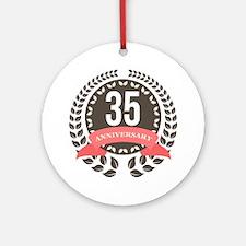 35 Years Anniversary Laurel Badge Ornament (Round)