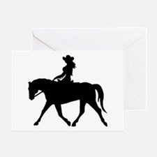 Cute Cowgirl on Horse Greeting Card