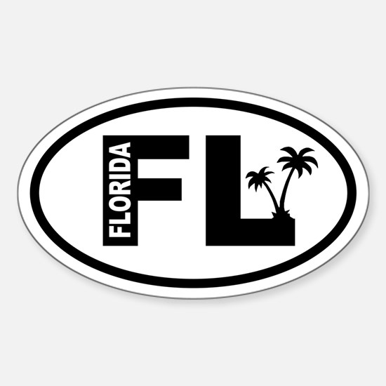 Florida Palm Trees Oval Decal