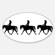 Three Cute Cowgirls Oval Decal