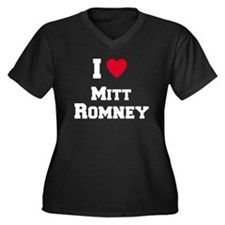 I love Mitt Romney Women's Plus Size V-Neck Dark T