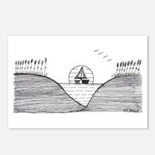 sailing in black and white Postcards (Package of 8