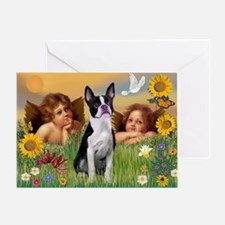 Angels & Boston Terrier Greeting Card
