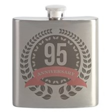95 Years Anniversary Laurel Badge Flask
