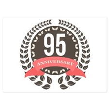 95 Years Anniversary Laurel Badge 5x7 Flat Cards