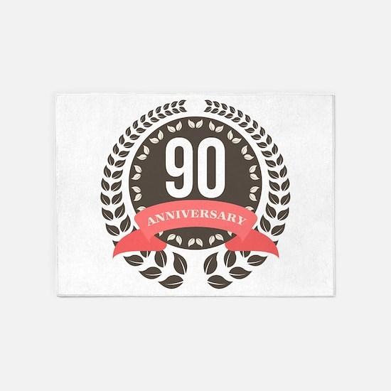 90 Years Anniversary Laurel Badge 5'x7'Area Rug