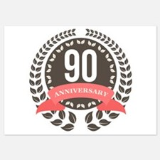 90 Years Anniversary Laurel Badge Invitations